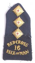 WW1 Red Cross 16 Isle of Man Commandant shoulder title badge