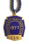 1977 Pontefract Park Racecourse horse racing club members badge