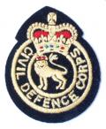 Civil Defence Corps post 1953 cloth uniform badge