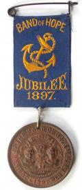 Queen Victoria 1897 Jubilee celebration temperance movement badge