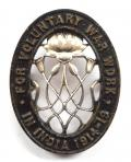 WW1 For Voluntary War Work In India 1914 to 1919 tribute badge