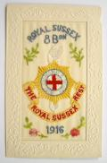 WW1 8th Batt Royal Sussex Regiment 1916 silk military postcard