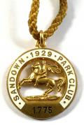 1929 Sandown Park Racecourse horse racing club badge