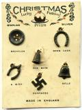 Christmas Pudding good luck silver charms on display card