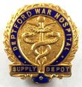 WW1 Deptford War Hospital Supply Depot war service badge