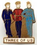 Three of Us Sailor Soldier Airman song sheet music badge c1940s