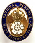 WW1 National Reserve West Riding of Yorkshire home front badge