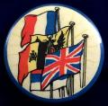 WW1 United We Stand England France Belgium Russia flag badge