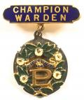 Primrose League Champion Warden presentation award badge