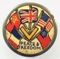 WW2 Peace & Freedom V For Victory allies flags of the nation badge