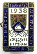 Municipal Tramways and Transport Association 1938 Morecambe badge