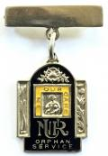 National Union of Railwaymen Orphan Service NUR 1935 silver badge