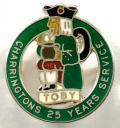 Charringtons Brewery 25 years long service silver Toby Jug badge