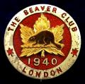 WW2 Canadian Soldiers leave hostel The Beaver Club London 1940 badge