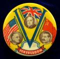 WW2 V For Victory Churchill Roosevelt & Stalin united flags badge