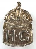WW2 Home Guard silver miniature HG lapel badge.