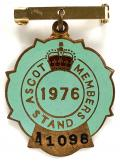 1976 Ascot horse racing club badge.