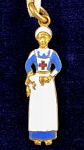 WW1 Nurse in uniform figurine pendant charm 1914 registration mark