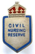 WW2 Civil Nursing Reserve silver nurses badge by J.R.Gaunt