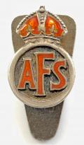 Auxiliary Fire Service 1939 hallmarked silver AFS miniature badge
