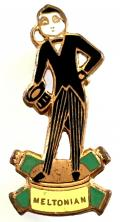 Meltonian Cream figural character advertising badge by Miller.