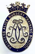 Princess Alice Nursery Training School qualification badge.