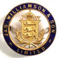 JAS Williamson & Son Ltd cap badge Lion Varnish Works, Lancaster.