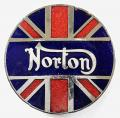 Norton British Motorcycle Company Union Jack badge.
