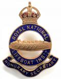 Royal National Lifeboat Institution RNLI Honorary Secretary badge.