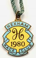 1980 Hexham Park horse racing club badge