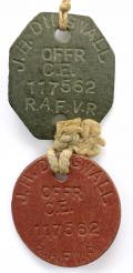 WW2 Royal Air Force RAFVR identification pair of dog tags