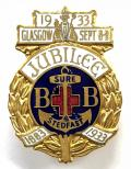 Boys Brigade 1933 Glasgow Jubilee celebrations badge