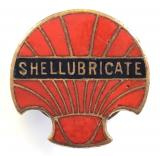Shellubricate Shell Oil Company advertising badge c1920s
