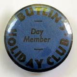 Butlins Holiday Club day member blue tin button badge