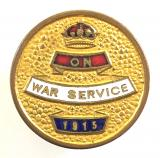 On War Service 1915 official factory workers badge