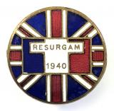Free French Resurgam 1940 British Union Jack Flag supporter badge