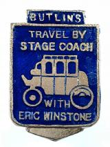 Butlins travel by stage coach with Eric Winstone special promotional badge