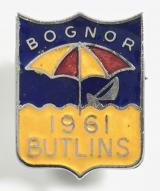 Butlins 1961 Bognor Regis holiday camp parasol badge