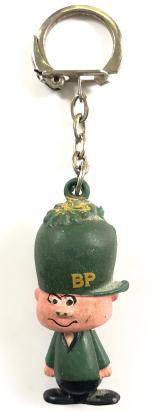 BP Petrol and Oil man advertising key ring badge