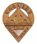 Warner's Holiday Camp Corton Suffolk brass badge
