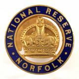 WW1 National Reserve Norfolk home front numbered badge