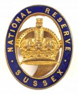 WW1 National Reserve Sussex home front numbered badge