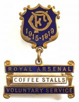 Royal Arsenal Ordnance Factory coffee stalls voluntary service 1919 tribute medal