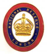 WW1 National Reserve London home front badge