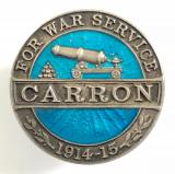 Carron Company 1914 -15 war service munition maker silver badge