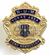 National Union of Mineworkers 1956 NUM Yorks Area long service badge