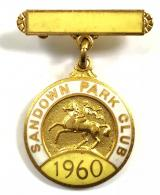 1960 Sandown Park horse racing club pin badge