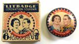 King George VI & Queen Elizabeth 1937 Coronation tin button badge in retailers box