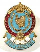5th Royal Irish Lancers OCA lapel badge