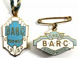 British Automobile Racing Club BARC Goodwood 1952 pair of badges